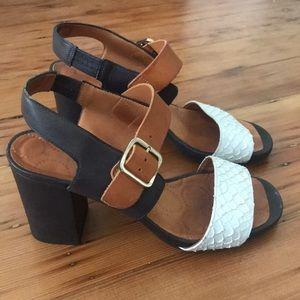 Chie Mihara Anthropologie Tan Sandal Heel 37.5/7.5